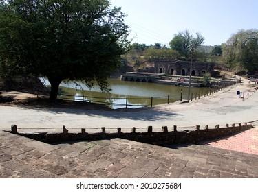 View of Rewa Kund from steps of Baz Bahadur Palace at Mandu in Madhya Pradesh, India, Asia