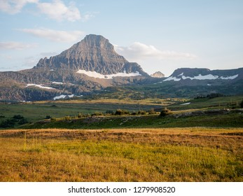 View of Reynolds Mountain from Logan Pass in Glacier National National Park, Montana, USA.