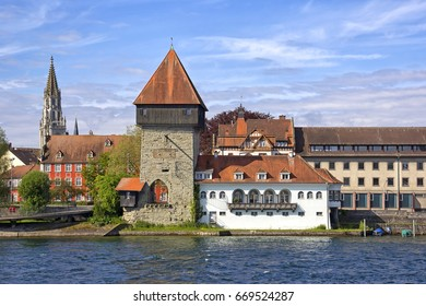 View to the Rheintorturm, part of the city wall of Konstanz at Lake Constance. Konstanz is a university city, bordering Switzerland. The Rhine river passes through Lake Constance and leaves it.