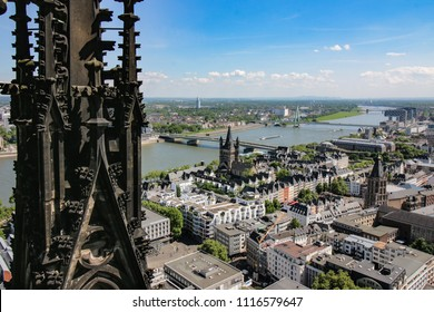 View of the Rhine and the Altstadt from the Cologne Cathedral, Germany.
