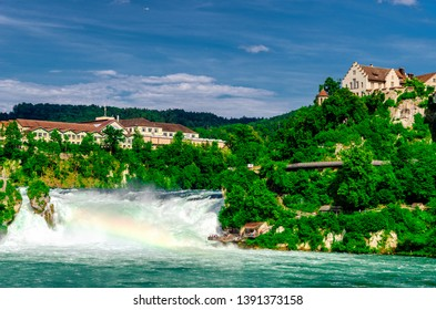 View to Rhine falls Rheinfalls , the largest plain waterfall in Europe. It is located near the town of Schaffhausen in northern Switzerland, between the cantons of Schaffhausen