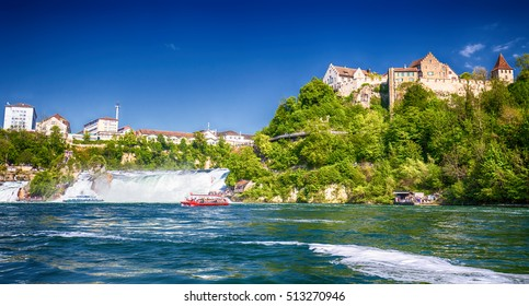 View to Rhine falls (Rheinfalls), the largest plain waterfall in Europe.  It is located near the town of Schaffhausen in northern Switzerland, between the cantons of Schaffhausen