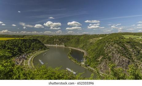view of the Rhine Valley - loreley rocks, caslte katz and sankt goarshausen
