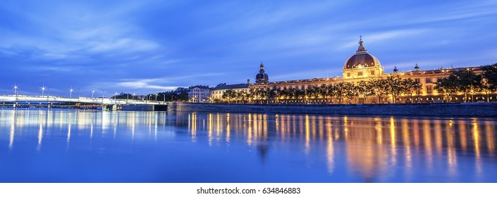 View of Rhone river in Lyon at night, France