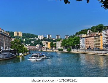 A view of the Rhone rivers as it passes through the city of Lyon France 05- 31-2017