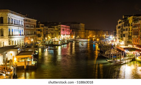 View from the Rialto bridge by night in Venice Italy
