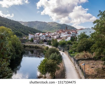 View of Ribadavia and the riverside promenade of the Avia River in the province of Ourense, Galicia, Spain