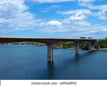 View of Ribadeo bridge, over the river Eo, joins the Asturias and Galicia