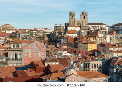 View of Ribeira with  Se Do Porto on a horizon top, old roman cathedral in Porto, Portugal.