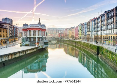 view of ribera market at morning in Bilbao, Spain