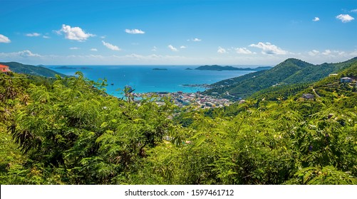 A view from the Ridge Road towards Road Town and the Francis Drake channel on the island of Tortola
