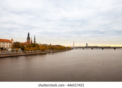 View of Riga with Daugava river in foreground on cloudy morning