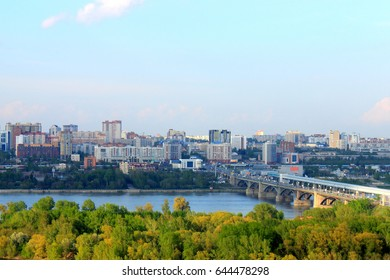View of the right bank of the city. Summer. Novosibirsk, Russia