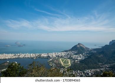 View of the Rio de Janeiro City, including the Laggon (Lagoa Rodrigo de Freitas), seen from the Corcovado Mountain and Joquei club