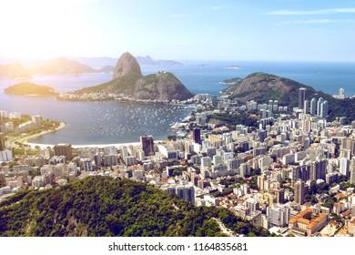 view of the Rio de Janeiro and Pao de Acucar. Brazil