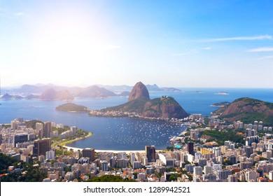 view of the Rio de Janeiro and Pao de Acucar, Brazil