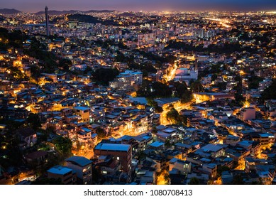 View of Rio de Janeiro Slums on the Hills at Night