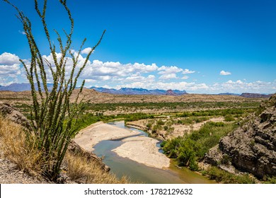 A view of the Rio Grande and Big Bend National Park in Texas from the United States side of Santa Elena Canyon.