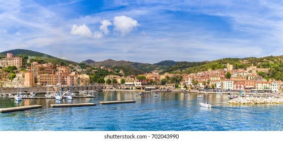 View of Rio Marina village and harbour, Elba islands, Tuscany, Italy