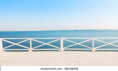 View river and balcony and blue sky background,with copyspace