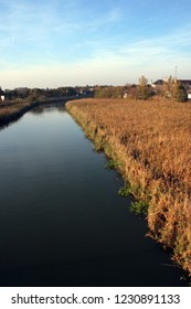 A view at the river Begej, Zrenjanin, Serbia. Autumn time.