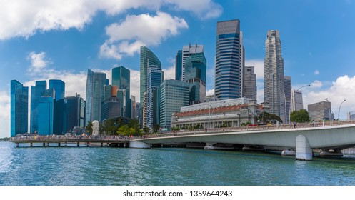 A view from a river boat on the Singapore river past the Esplanade Bridge towards downtown Singapore, Asia