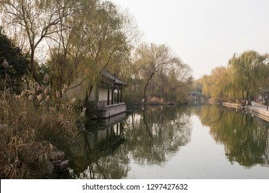 View of the river and bridge in Jinan, Shandong province, China, autumn day