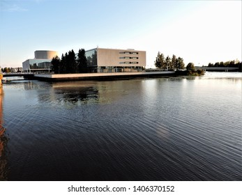 View of river and building in Oulu, Finland