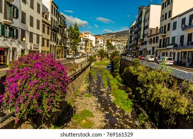 A view up a river channel in Funchal, Maderia