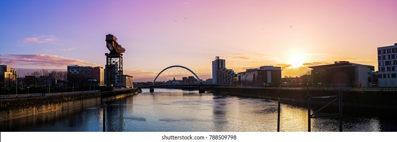 View of River Clyde at sunrise, Glasgow, Scotland, UK, Europe.