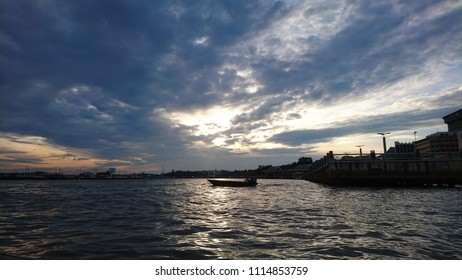 view from a river cruise at sunset in Bandar Seri Begawan, Brunei