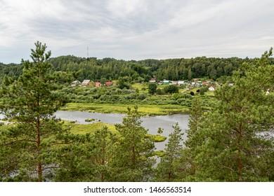 View to river Daugava from Priedaine view tower on a summer day in Kraslava (Krāslava) in Latvia
