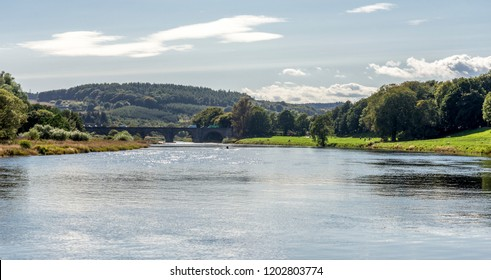 A view to river Dee and a Bridge of Dee in a nice autumn day in Aberdeen, Scotland