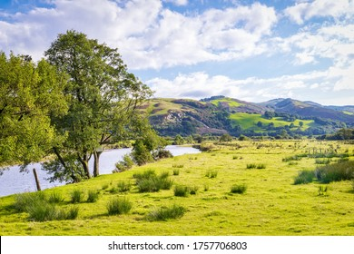 View of river Dulas valley at Bron-yr-aur - south edge of Snowdonia national park in Wales. Copy space in sky.