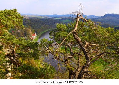 View of the River Elbe and the Mountains of the Saxon Switzerland from Bastei, near Dresden, Germany.