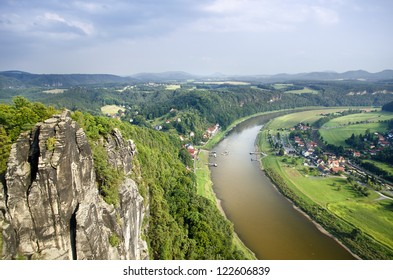 View of the River Elbe and the Mountains of the Swiss Saxony at Rathen