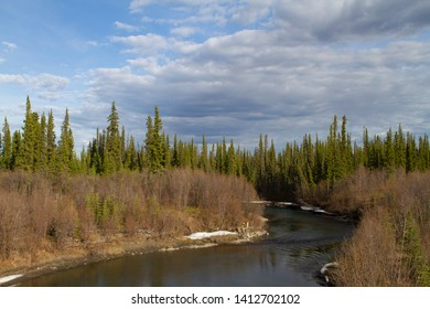 View of river and forest from the Alaskan Highway, Yukon Territory portion, Canda