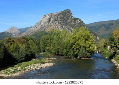 View of the river and French Pyrenees from Tarascon-sur-Ariege,France