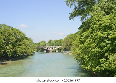 "View of the river ""Isar"" in Munich in Bavaria in the springtime"