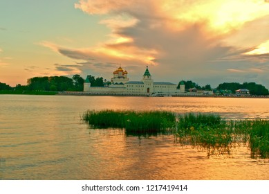 View of the river Kostroma and the Ipatiev Monastery in the summer at sunset. Kostroma, Russia.