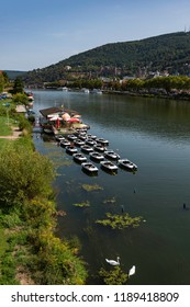 View of the river neckar in the city of Heidelberg with a little boat port, with the old city and hills in the background