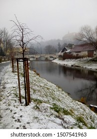View of the river Oslava in a little historical town Namest nad Oslavou. Czech nature / Czech countryside during  winter time with snow and grey cloudy sky. Moravia, Czech Republic, Central Europe. - Shutterstock ID 1507541963
