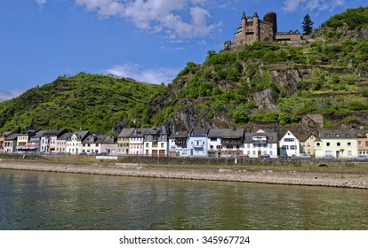 View from the River Rhine of Katz Castle at St. Goarshausen in the famous Rhine Gorge region north of Rudesheim, Germany