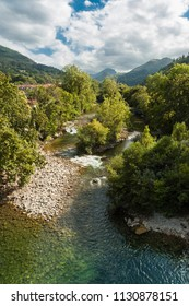 View of the river Sella in summer. Photo taken from the Roman bridge of Cangas de Onis. Asturias, Spain