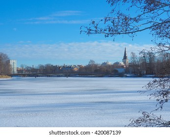 View the river snow in Karlstad city, Sweden