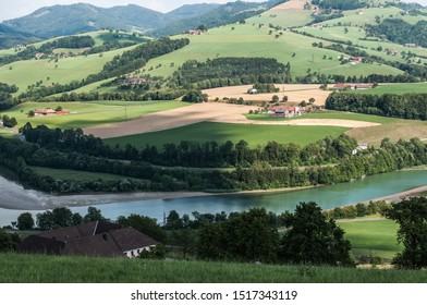View of the river Steyr, valley and mountains in an Austrian village Aschach an der Steyr with wheat fields, open spaces and fresh air.