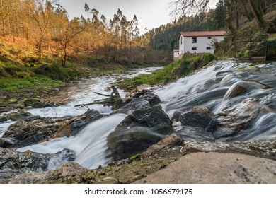 View of a river stream on the beautiful Oliveira de Azemeis region in Portugal.