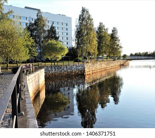 View of river and summer street in Oulu, Finland