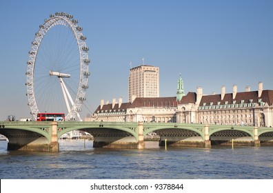 View of the River Thames in London showing the London Eye, County Hall and Westminster Bridge