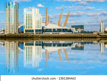 View of river Thames, north Greenwich and O2 arena